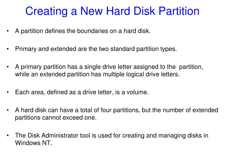 Creating a New Hard Disk Partition