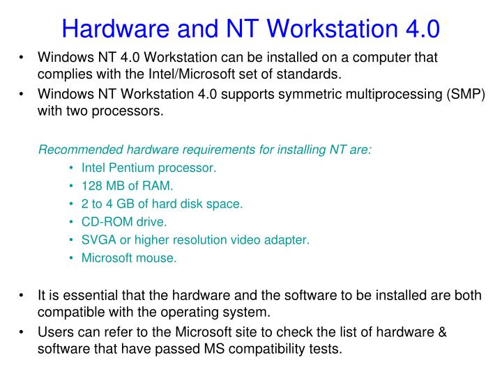 Hardware and NT Workstation 4.0