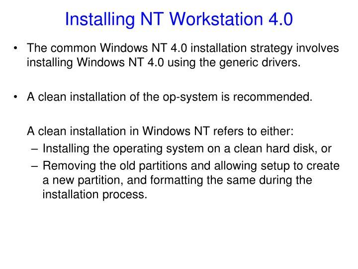 Installing NT Workstation 4.0