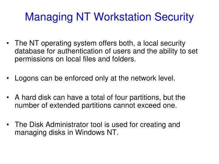 Managing NT Workstation Security