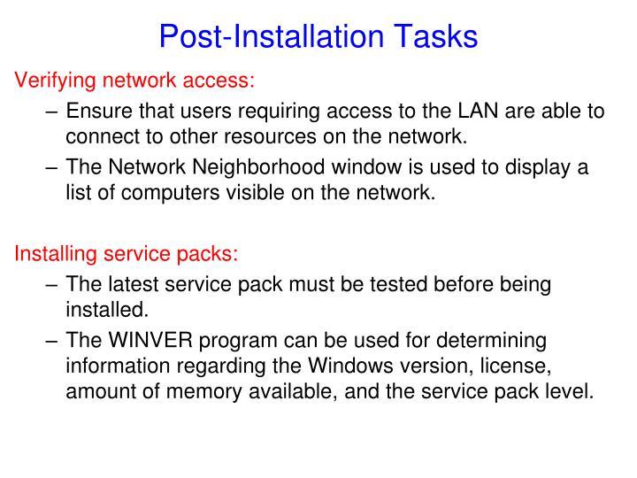 Post-Installation Tasks