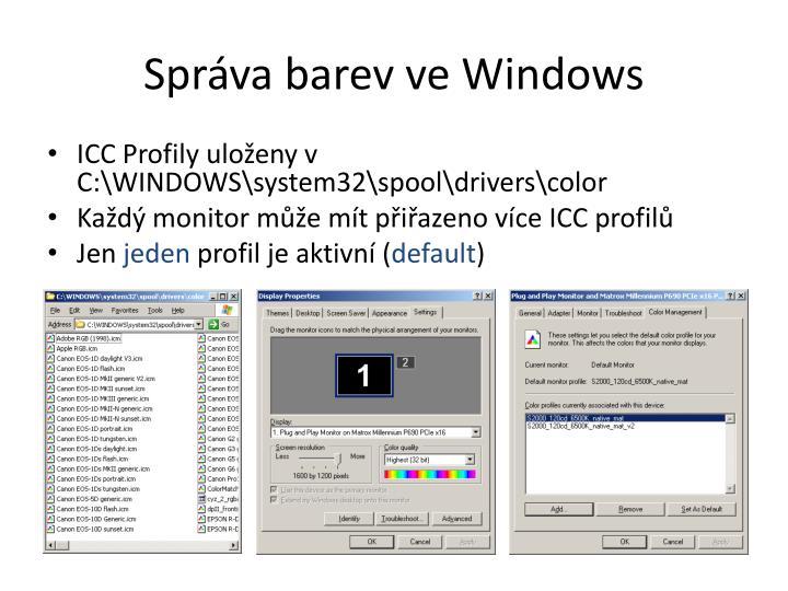Správa barev ve Windows