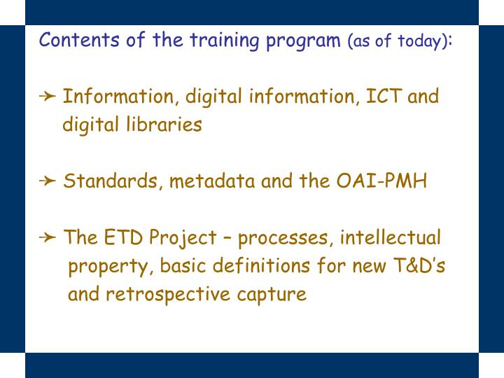 Contents of the training program