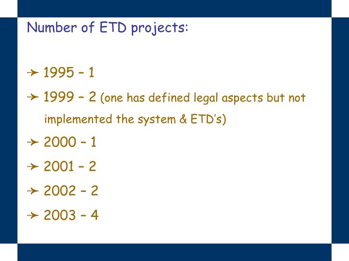 Number of ETD projects: