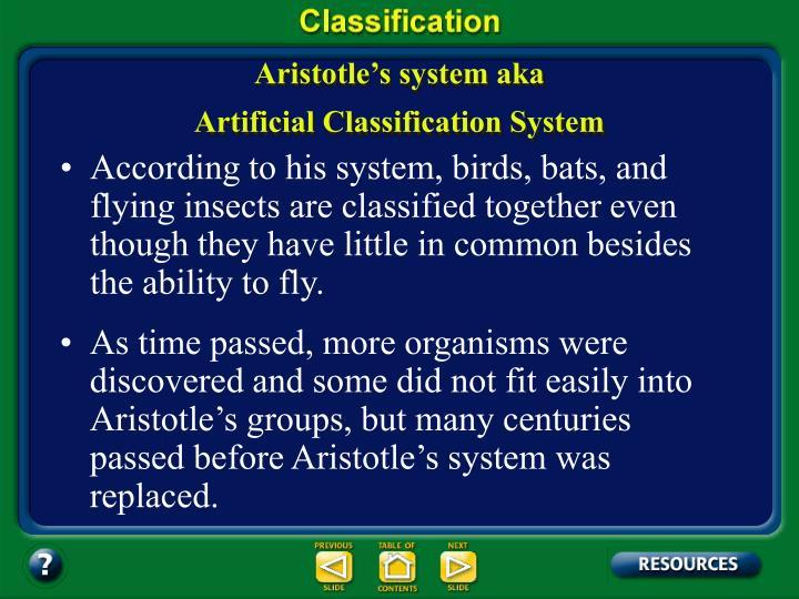 Aristotle's system aka