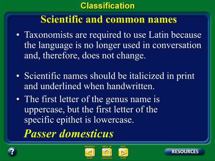 Scientific and common names