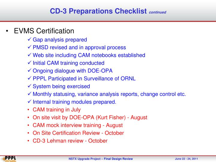 CD-3 Preparations Checklist