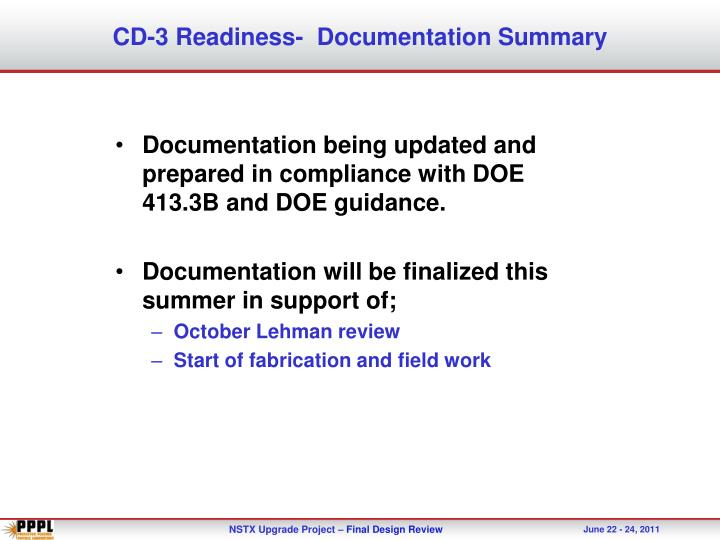 CD-3 Readiness-  Documentation Summary
