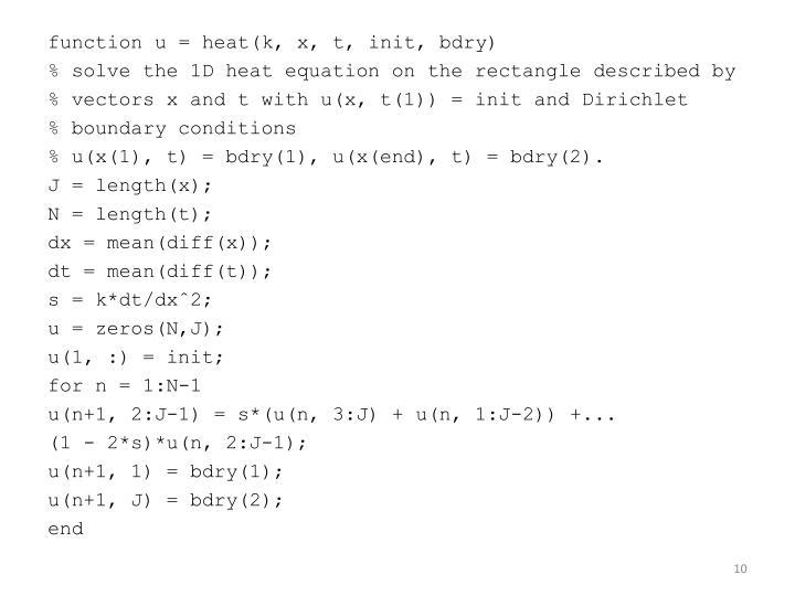 function u = heat(k, x, t, init,