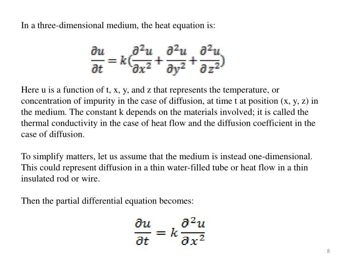 In a three-dimensional medium, the heat equation is: