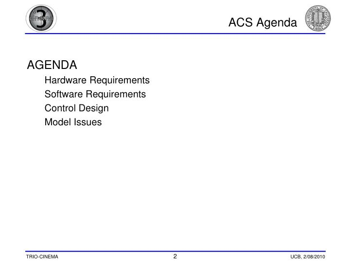 ACS Agenda