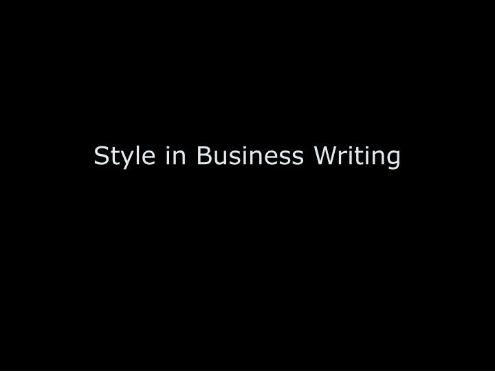 Style in business writing