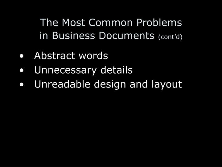 The most common problems in business documents cont d