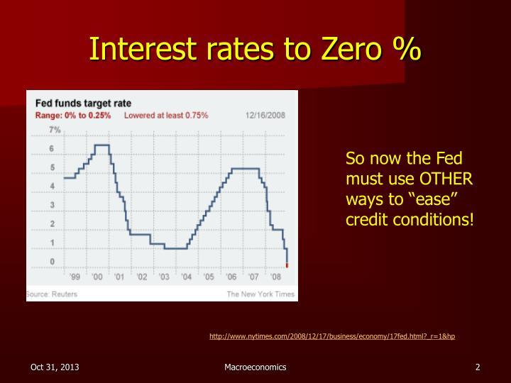 Interest rates to Zero %