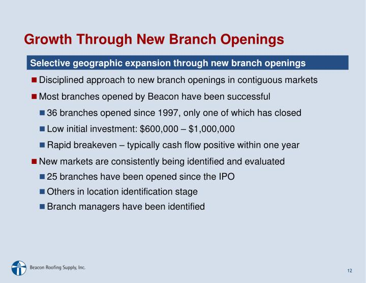Disciplined approach to new branch openings in contiguous markets