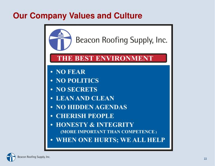 Our Company Values and Culture