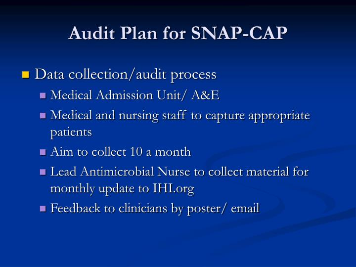 Audit plan for snap cap