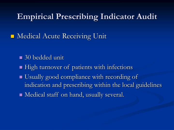 Empirical Prescribing Indicator Audit