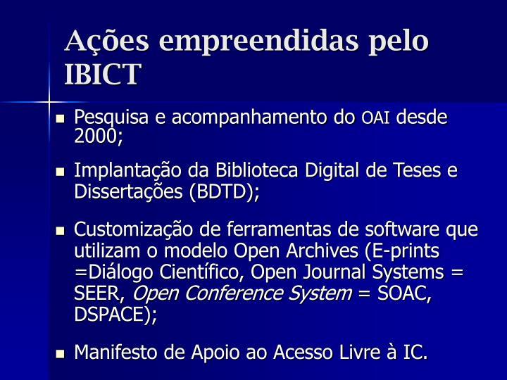 Ações empreendidas pelo IBICT