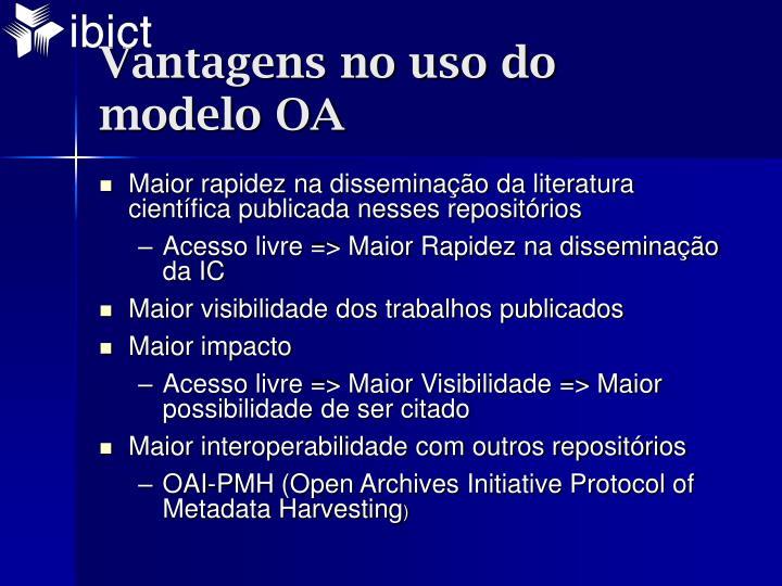 Vantagens no uso do modelo OA