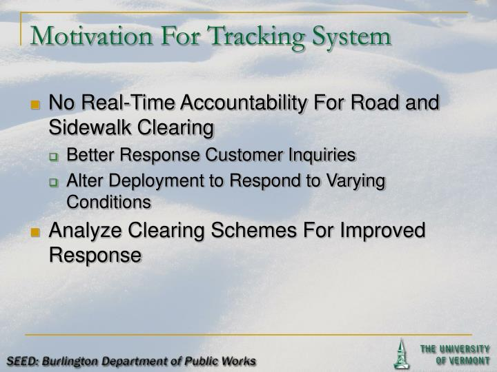 Motivation For Tracking System