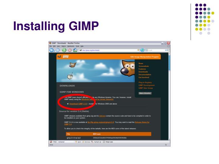 Installing GIMP