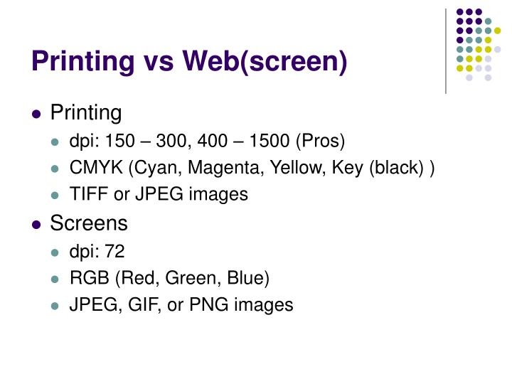 Printing vs Web(screen)