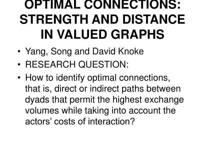 Optimal connections strength and distance in valued graphs