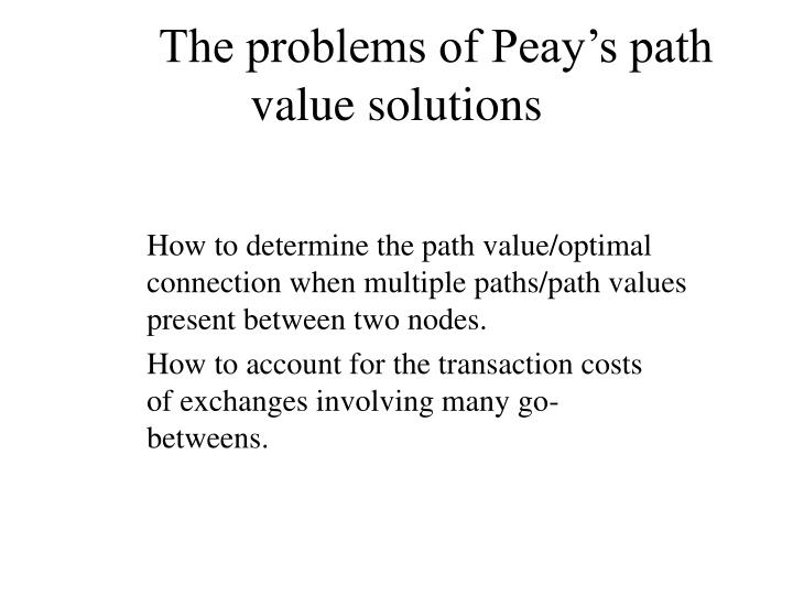 The problems of Peay's path value solutions