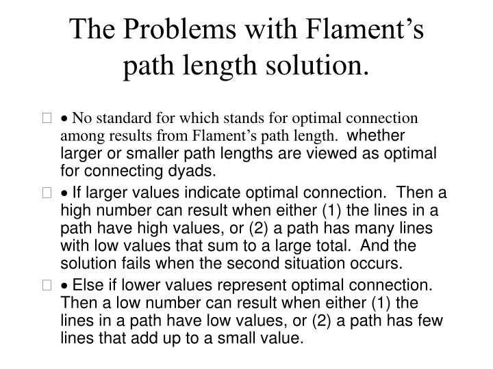 The Problems with Flament's path length solution.