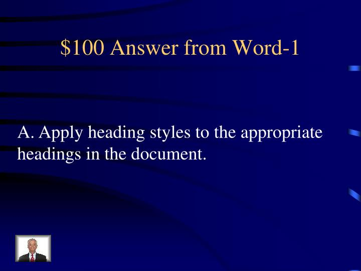 100 answer from word 1