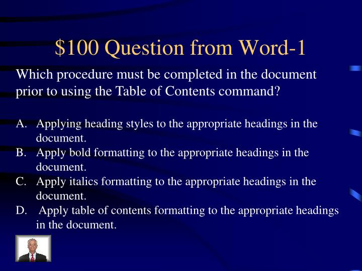 100 question from word 1