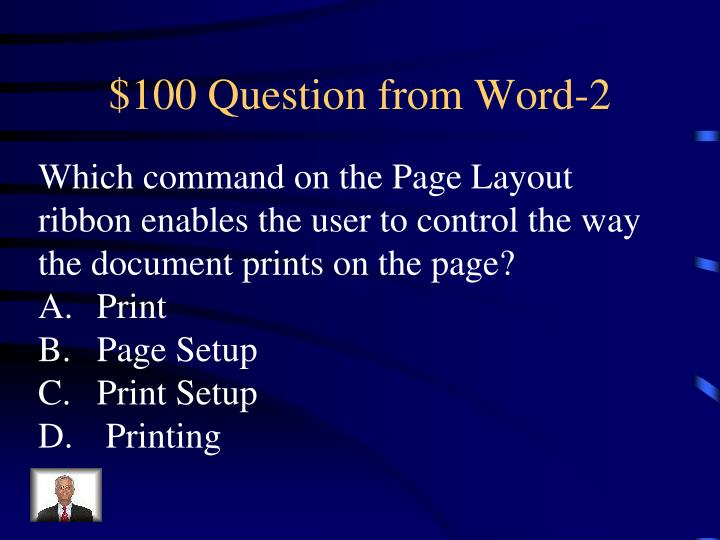 $100 Question from Word-2