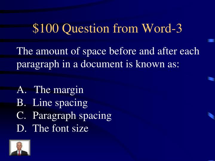 $100 Question from Word-3