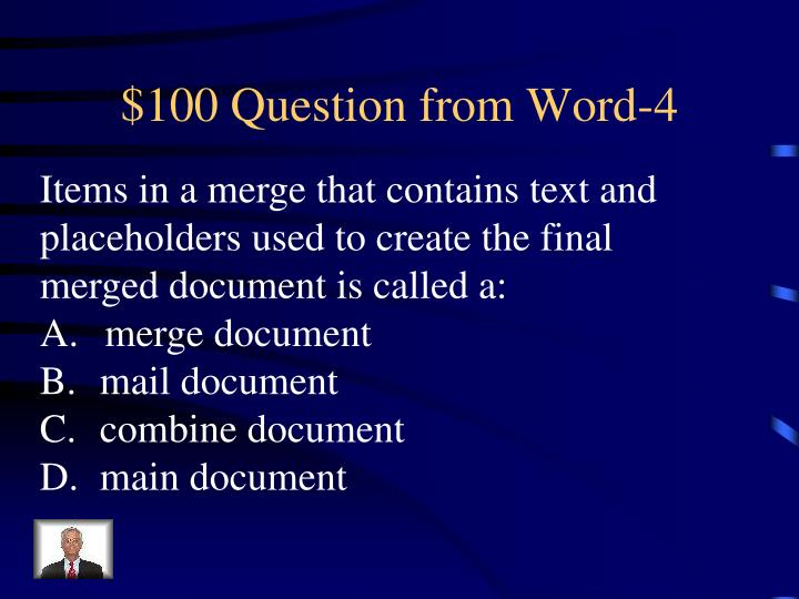 $100 Question from Word-4