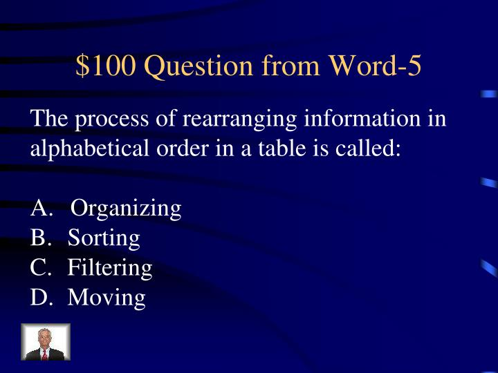 $100 Question from Word-5