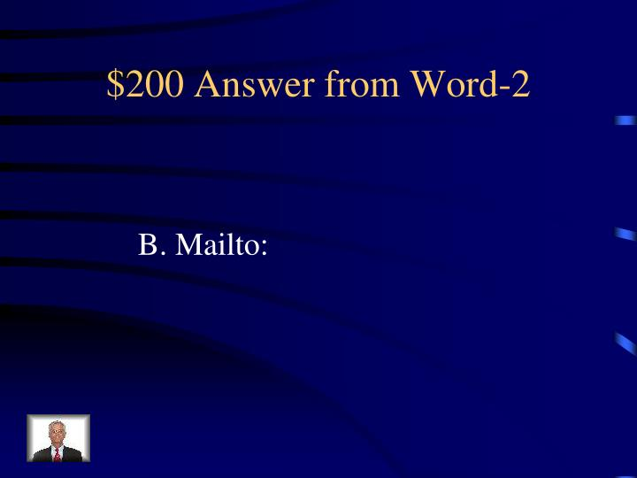 $200 Answer from Word-2