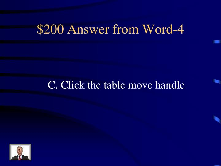 $200 Answer from Word-4