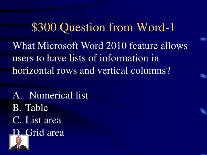 $300 Question from Word-1