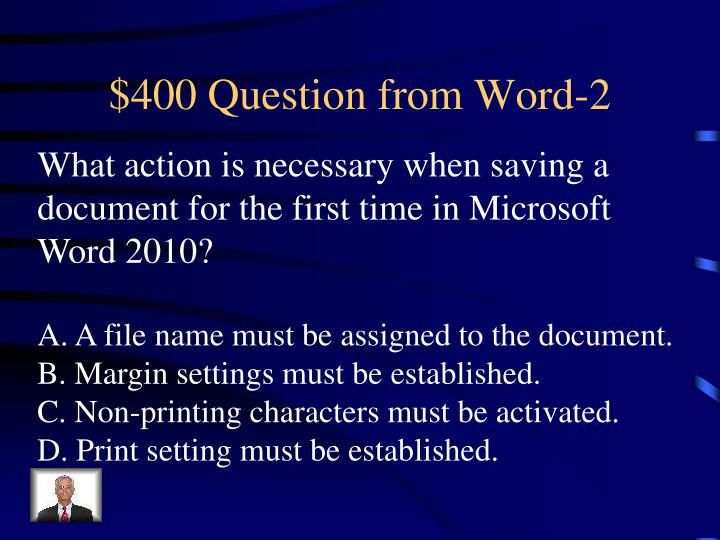 $400 Question from Word-2