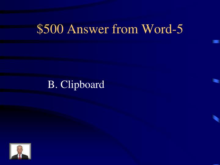 $500 Answer from Word-5