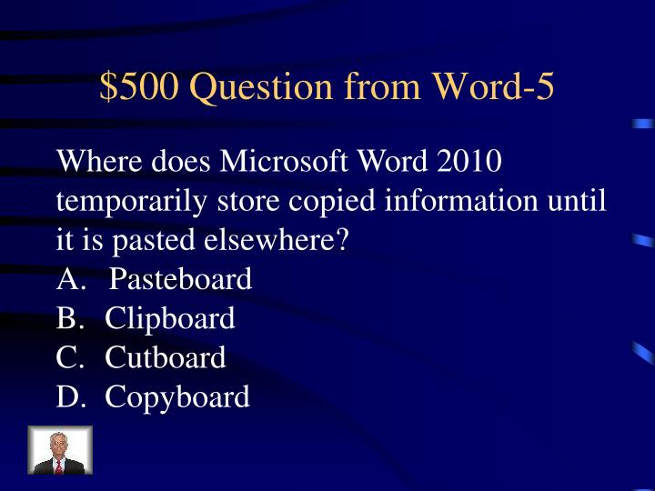 $500 Question from Word-5