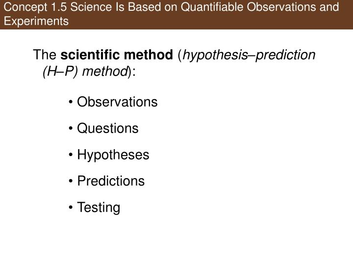 Concept 1.5 Science Is Based on Quantifiable Observations and Experiments