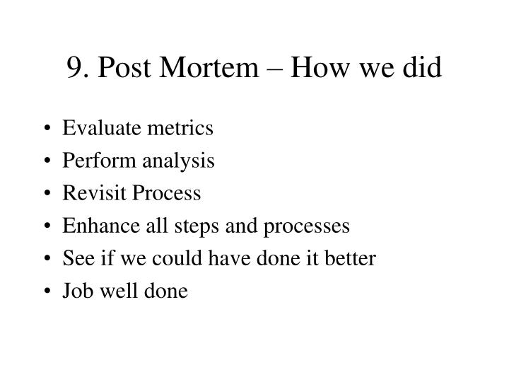 9. Post Mortem – How we did