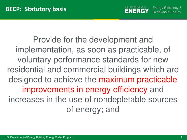 BECP:  Statutory basis