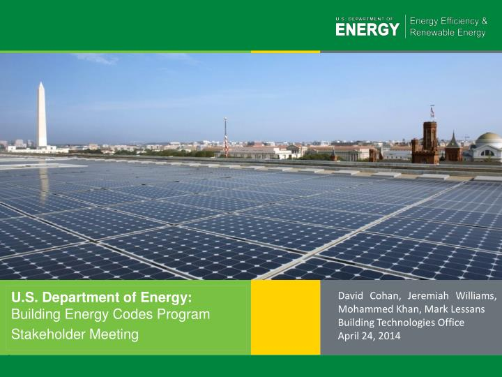 U s department of energy building energy codes program stakeholder meeting