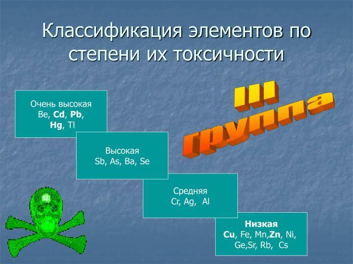 Классификация элементов по степени их токсичности