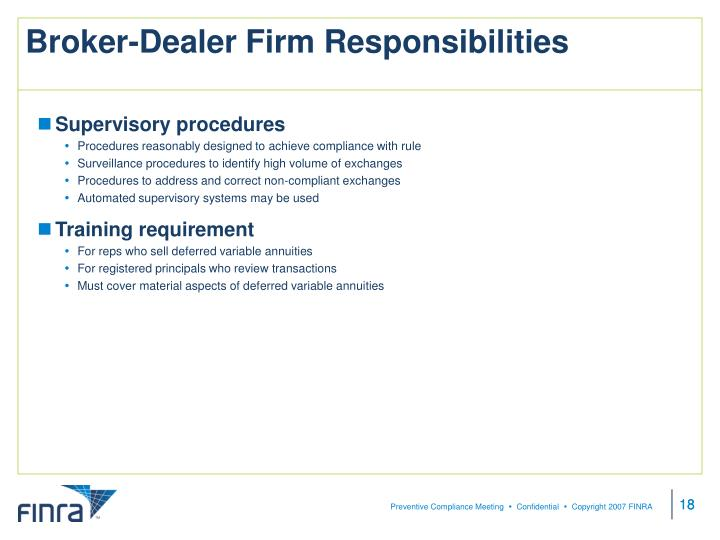 Broker-Dealer Firm Responsibilities
