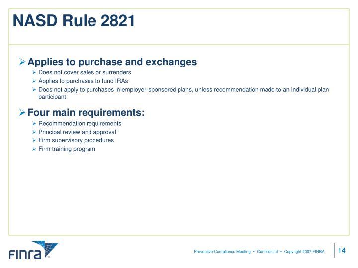 NASD Rule 2821