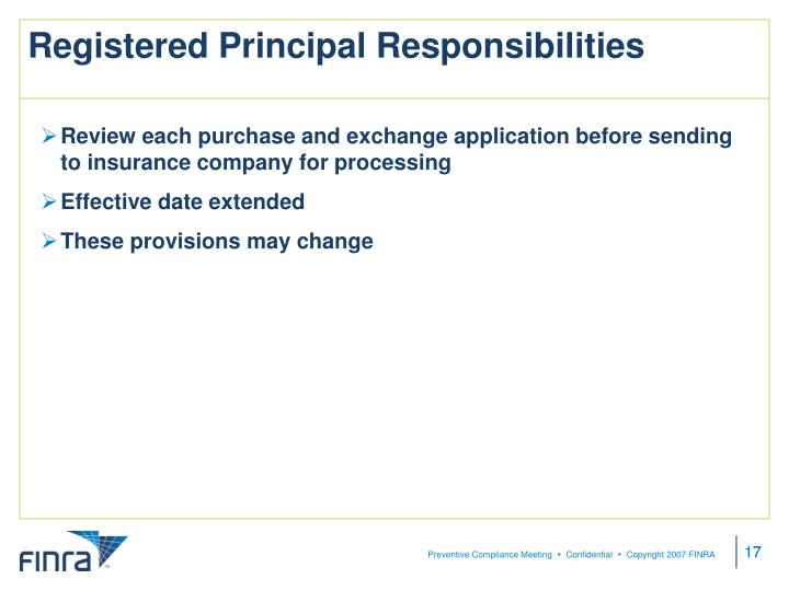 Registered Principal Responsibilities